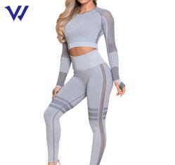 Ropa deportiva Fitness mujer Sexy trajes de malla con cintura alta Legging de ejercicios de Yoga con el agujero del pulgar de desgaste