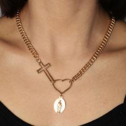 Popolare collana creativa di amore di croce di moda retro in lega pendente
