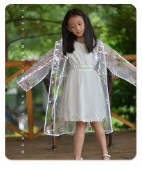 شعار مخصص عالي الجودة مطبوع على أطفال شفاف وعالي الوضوح معطف مطر