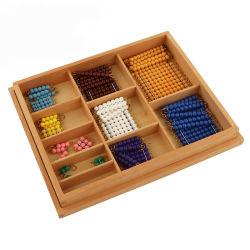 おもちゃのMontessoriの教育文書を学ぶ就学前の短いビードの鎖ボックスを教えるMontessoriの数学のおもちゃ