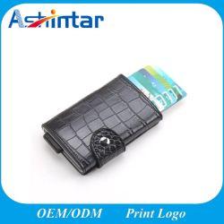 Carte de crédit du portefeuille en cuir d'entreprise titulaire de la carte ID avec le RFID bloquant
