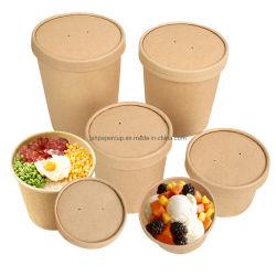 Fabrique a taça de papel descartável Kraft Paper Bowl para sopa ou Ice Cream Bowl