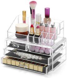 Caja de almacenamiento de joyas de acrílico lápices labiales maquillaje cosmético titular Organizador Caso