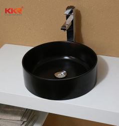 Künstliches gesundheitliches Ware-Badezimmer-Steinschwarz-runde Wäsche-Bassin-Wanne