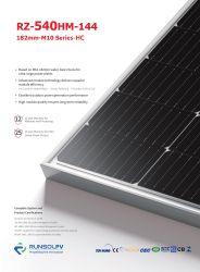 Pannello modulo solare Runsolpv monocristallino monocristallino da 540 W, monofacciale, alto Sistema di alimentazione Tier 1 Longi Ja Jinko AE Trina Risen Tetto BIPV Vietnam da 535 W, 530 W