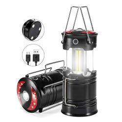Pop up lanterne de camping en plein air avec une lampe de poche LED rouge lanterne de pliage magnétique