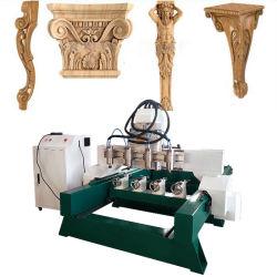 4 оси цилиндра древесины Multi-Head гравировка мебель вращающийся маршрутизатор с ЧПУ станок