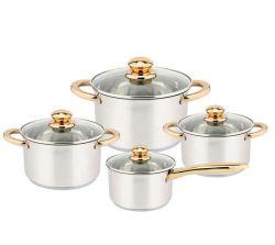 Nouveau design Waterless Ustensiles de cuisine en acier inoxydable ensemble Marmite casserole Ustensiles de cuisine avec poignée d'or