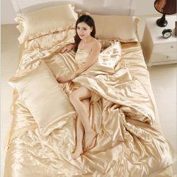 Lujoso hotel de 4 piezas de satén de seda satén/cama Conjunto de hojas de recogida de ropa de cama, Verano edredón nórdico establece