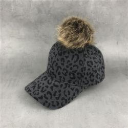 Herbst-Winter-Baseballmütze-Frauenfaux-Pelzpompom-Kugel-Leopard-Druck Muttergesellschaft-Kind bedeckt Kind-Hysteresen-Kind-Hut Hip Hop Esg13561 mit einer Kappe