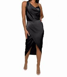 블랙 새틴 비대칭 드레이프 변형 캐주얼 여름 MIDI 여성용 드레스