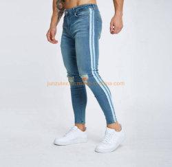 El verano de la banda lateral blanco pantalón mezclilla Casual Biker, Classic Slim Fit Jeans pantalones vaqueros pantalones vaqueros de los hombres niños ropa ropa de adultos de prendas Denim Jeans
