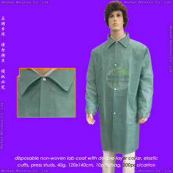 Polypropylene Nonwoven Disposable Lab Coat、Disposable Patient Coat医学またはSurgical/Polyethylene/PE/PP+PE/PP/SMS/Hospital/Laboratory/Patient/Doctor/Protective