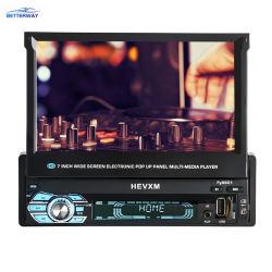 """ステレオMP5プレーヤー引き込み式スクリーンのBluetooth無線LCDの後部カメラのAutoradio 1人のDIN 7の""""インチ車DVDプレイヤー"""