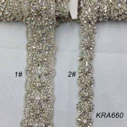 Rhinestone Garniture Décorative Cristal clair Silver Base perlé applique passementeries