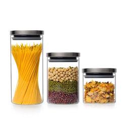 Il vaso dell'alimento, il vaso di vetro, cucina può con il coperchio, bottiglia di memoria