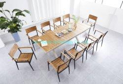 Commerce de gros Accueil Mobilier moderne de style jardin en plein air en rotin vert Table à manger Terrasse en aluminium de bureau longue table tableau