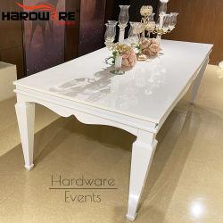 Rechteck-Form Weiß Eisen Metall 12 Sitze Luxus-Tische Hochzeit