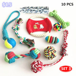 주문 면 밧줄 공 애완 동물 장난감 개 10PCS는 다른 애완 동물 제품 씹기 장난감을 놓았다