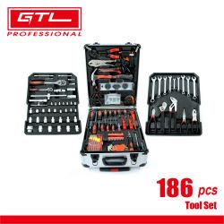 مجموعة أدوات 186PCS مع مجموعة أدوات علبة الألومنيوم لإصلاح السيارات والدراجات النارية الصيانة اليومية، صندوق أدوات للاستخدام المنزلي مع الأدوات المضمنة، مشغّلات المطرقة