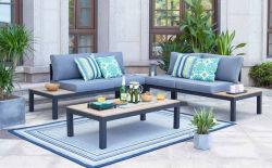 Patio Furnitue, mobiliário de exterior define, Morden Wicker mobília do pátio com mesa de corte transversal