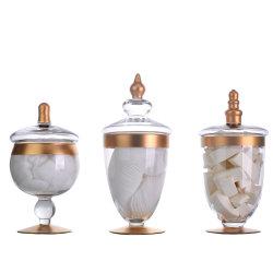 Cheap Custom Set de 3 conteneur Frasco 32 oz de luxe à grande capacité Salle de bains claire apothicaire cosmétiques en pots de verre avec couvercle en verre