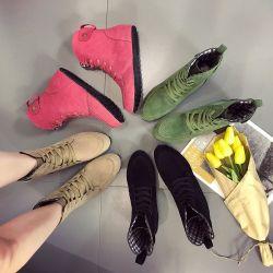 Популярные и удобные большие по размеру зимние новых женщин загружается плоской нижней части лодыжки загружается женщин Lace Up Мартин бутсы для женщин или женская обувь