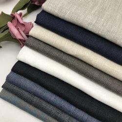 Lino puro de sarga de hilados de alta calidad La calidad de tinte de tela para los vestidos y prendas de vestir