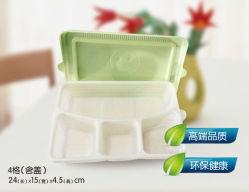 4 Doos van de Lunch van het Maïszetmeel van de Container van het Voedsel van compartimenten de Meeneem Beschikbare Biologisch afbreekbare met Deksel