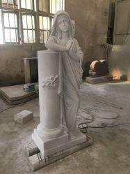 Piedra de mármol blanco de piedra Haobo Angel grabado con una lápida Memorial