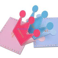 Saludo de cumpleaños Tarjetas de cumpleaños de forma de corona Logotipo personalizado tamaño color impreso de Zhuhai en precio de fábrica de buena calidad OEM