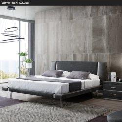 Moderno de lujo doble cama personalizada con el cuero y tela bonito cabecero mixtos