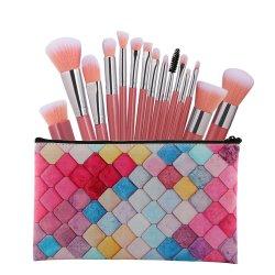 15pcs conjunto de cepillos de maquillaje de la Fundación profesional Blusher Eyeshadow labios belleza cosmética herramienta con la Bolsa de transporte