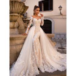 Lace Wedding Dress Up يمكن فصل القطار 2 في 1 الطويل أكمام الزفاف يمتلك Lb2319