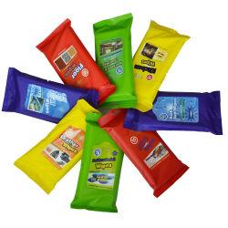 特殊不織布多目的 pH ニュートラル - 安全 40PCS カーケアレザー用ウェットワイプ、ガラス、内部消毒ウェットソフトワイプ