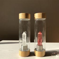 Kundenspezifischer Firmenzeichen-Bambuskappen-Edelstein-Amethyst Kristallelixier-Wasser-Flaschen-breiter Mund-Kristall hineingegossene Glaswasser-Flasche 550ml