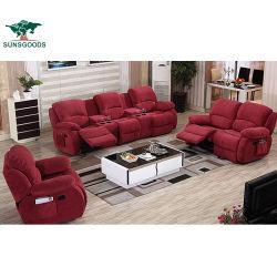 Das meiste populäres Geweberecliner-Couch-gesetztes Heimkino-hölzerne Rahmen-Sofa