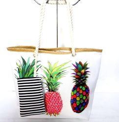 파인애플 프린트가 있는 여름 토트 백 비치 가방