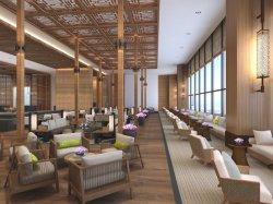 Mobili di lusso in legno d'antiquariato cinese nella hall dell'hotel