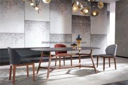 Haut de marbre noir moderne Table à manger avec socle en bois
