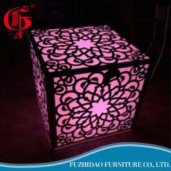 Arts gravées en acier inoxydable avec meubles de mariage de lumière LED Table à manger