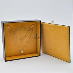 Cuadrado de madera personalizado Softtouch envuelve con papel de regalo de joyas de envases de almacenamiento multimedia Expositor