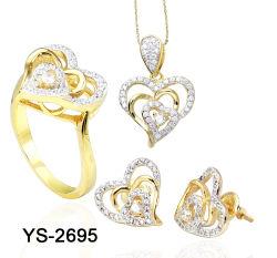 14K Gold мода украшения 925 серебристые или латунной сердце наборов ювелирных изделий в День Святого Валентина