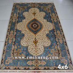 4X6 het blauwe Perzische Tapijt van de Zijde van het Ontwerp Met de hand gemaakte