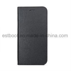 Deuxième caisse de téléphone de cuir de chiquenaude de cuir de couche avec l'aimant à l'intérieur