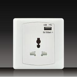 British/UKの標準プラスチックベークライトの物質的な電気鐘スイッチTVおよびTelのソケット5V/500mA Mfのソケット+ USB (DK17)
