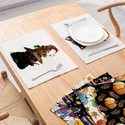 Commerce de gros de la série de citrouille Halloween 2019 de nouveaux draps en coton Tableau récapitulatif de fonctionnement Accueil tissu Mat Ustensiles de cuisine Tapis de l'Ouest