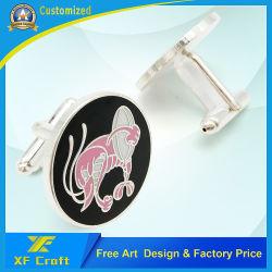 Kundenspezifisches Form-Großhandelsmetall/Messing/Decklack/silberne Stulpe-Links für Männer (XF-CF02)