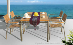 Patio du jardin en plein air Table à manger Restaurant Président Ensemble de meubles en bois de teck FSC en acier inoxydable #304