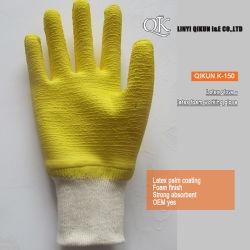 K-150 Muñeca tejido de algodón elástica de onda de látex guantes de seguridad de trabajo